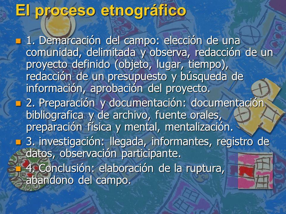 El proceso etnográfico n 1. Demarcación del campo: elección de una comunidad, delimitada y observa, redacción de un proyecto definido (objeto, lugar,