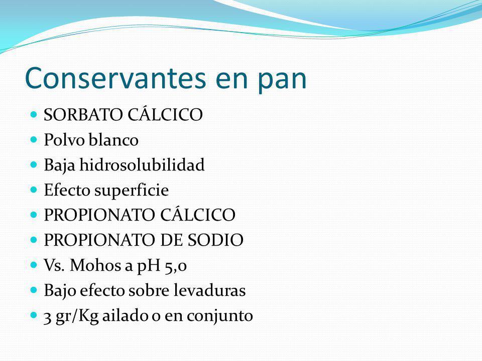 Conservantes en pan SORBATO CÁLCICO Polvo blanco Baja hidrosolubilidad Efecto superficie PROPIONATO CÁLCICO PROPIONATO DE SODIO Vs. Mohos a pH 5,0 Baj