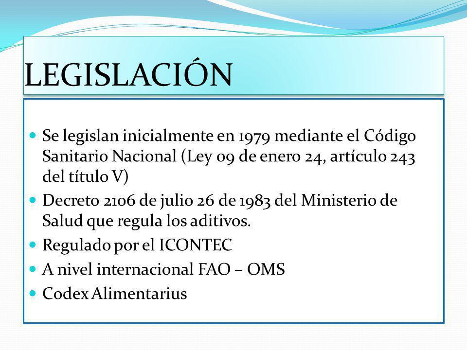 LEGISLACIÓN Se legislan inicialmente en 1979 mediante el Código Sanitario Nacional (Ley 09 de enero 24, artículo 243 del título V) Decreto 2106 de jul