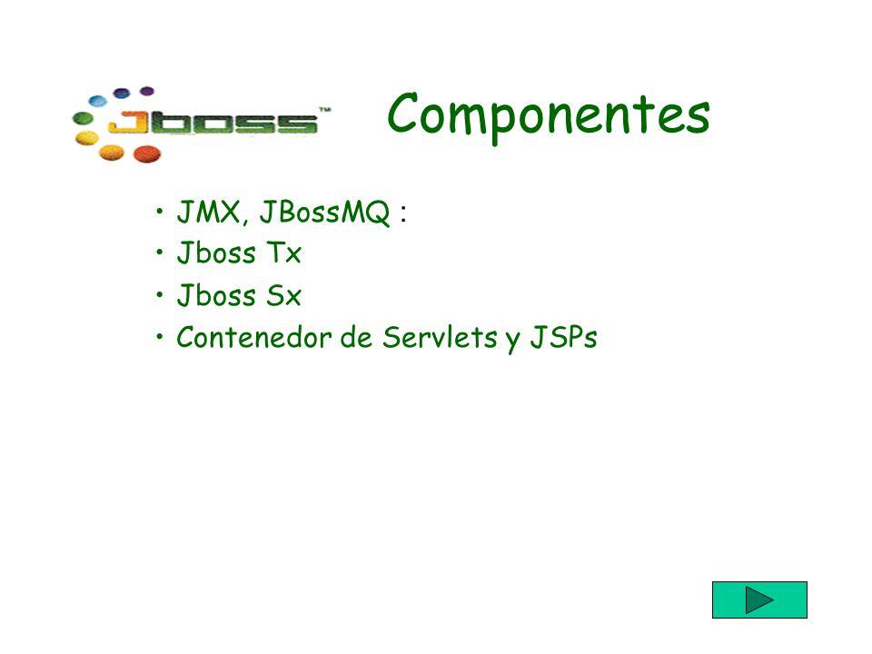 Componentes JMX, JBossMQ : Jboss Tx Jboss Sx Contenedor de Servlets y JSPs