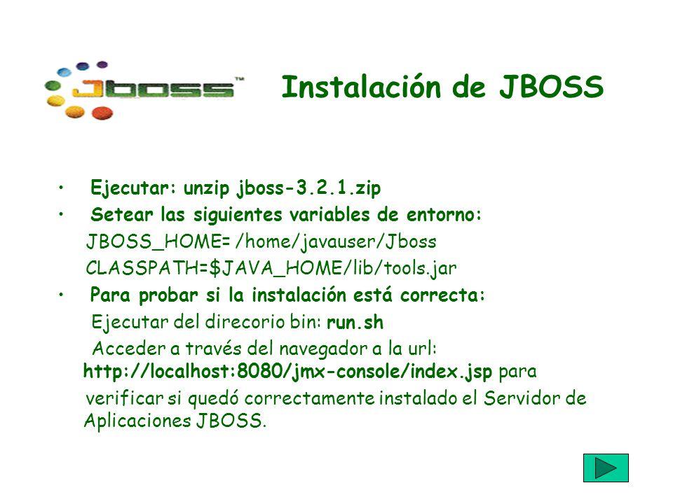 Instalación de JBOSS Ejecutar: unzip jboss-3.2.1.zip Setear las siguientes variables de entorno: JBOSS_HOME= /home/javauser/Jboss CLASSPATH=$JAVA_HOME/lib/tools.jar Para probar si la instalación está correcta: Ejecutar del direcorio bin: run.sh Acceder a través del navegador a la url: http://localhost:8080/jmx-console/index.jsp para verificar si quedó correctamente instalado el Servidor de Aplicaciones JBOSS.