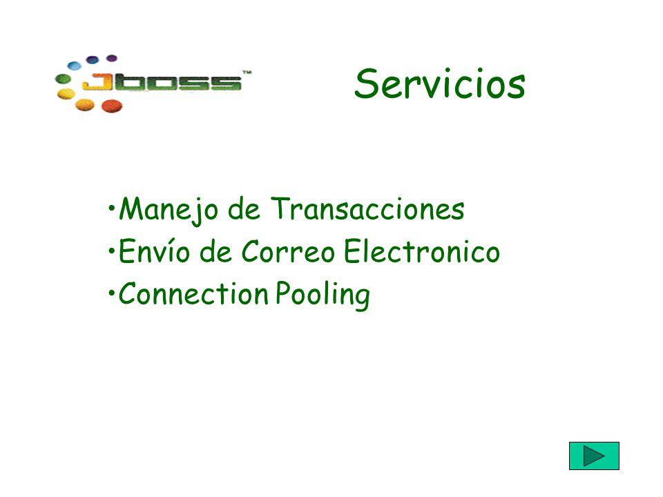 Servicios Manejo de Transacciones Envío de Correo Electronico Connection Pooling
