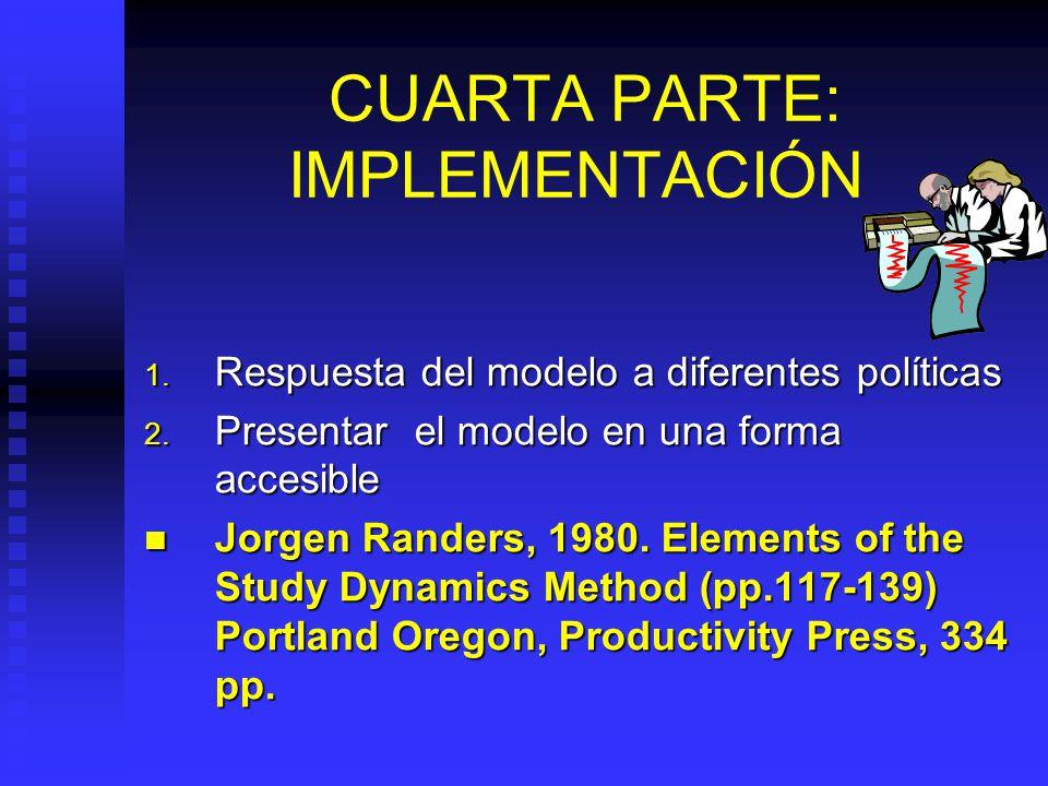 TERCERA PARTE: EVALUACION Tiempo requerido: 15 días Simulación del modelo y prueba de hipótesis dinámicas Simulación del modelo y prueba de hipótesis