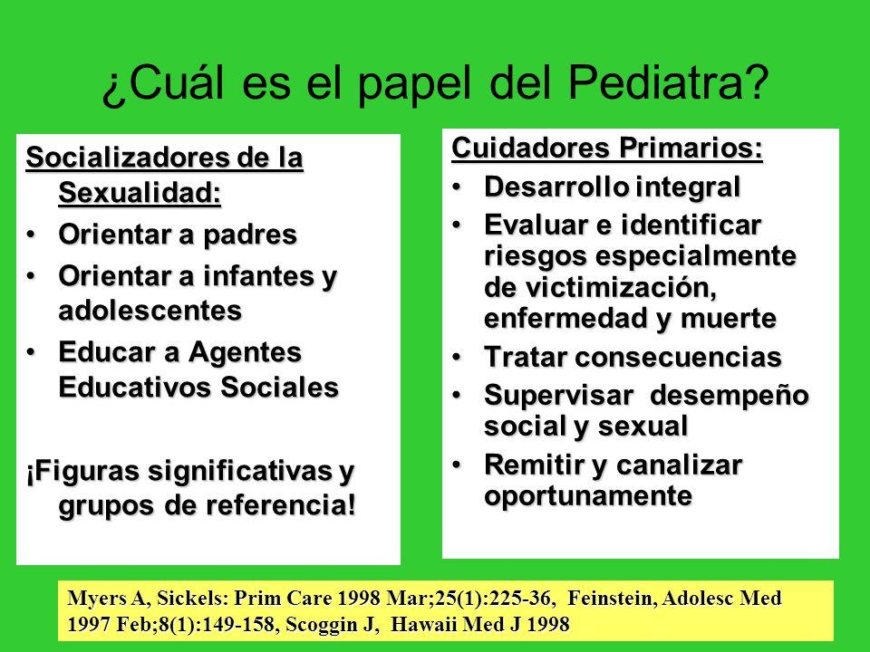 ¿Cuál es el papel del Pediatra? Socializadores de la Sexualidad: Orientar a padresOrientar a padres Orientar a infantes y adolescentesOrientar a infan