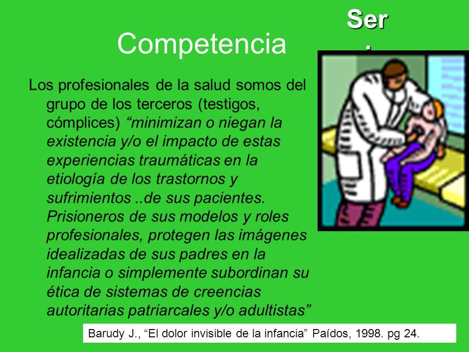 Competencia Ser : Los profesionales de la salud somos del grupo de los terceros (testigos, cómplices) minimizan o niegan la existencia y/o el impacto de estas experiencias traumáticas en la etiología de los trastornos y sufrimientos..de sus pacientes.
