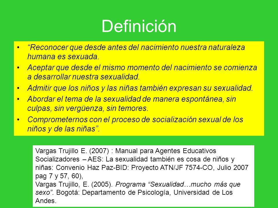 Definición Reconocer que desde antes del nacimiento nuestra naturaleza humana es sexuada.