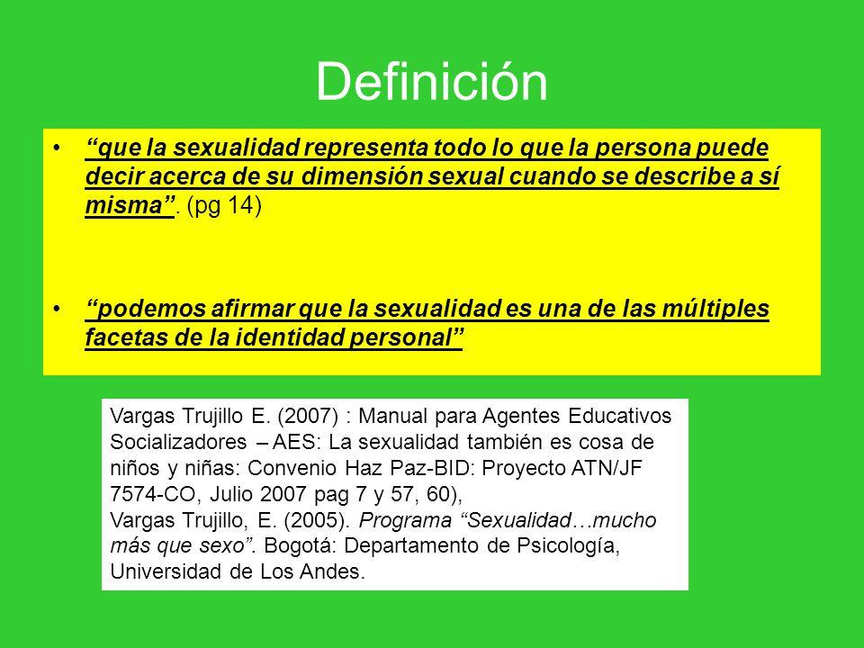 Definición que la sexualidad representa todo lo que la persona puede decir acerca de su dimensión sexual cuando se describe a sí misma. (pg 14) podemo