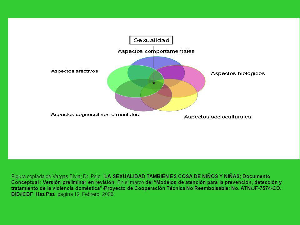 Figura copiada de Vargas Elvia; Dr. Psic: LA SEXUALIDAD TAMBIÉN ES COSA DE NIÑOS Y NIÑAS; Documento Conceptual : Versión preliminar en revisión. En el