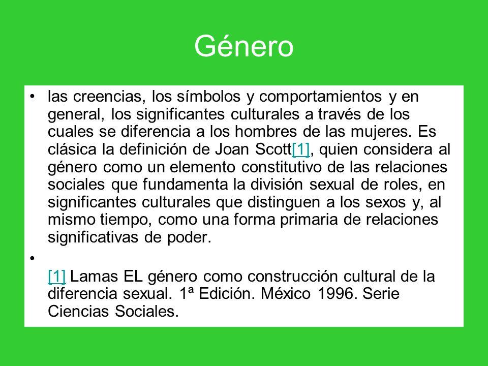 Género las creencias, los símbolos y comportamientos y en general, los significantes culturales a través de los cuales se diferencia a los hombres de