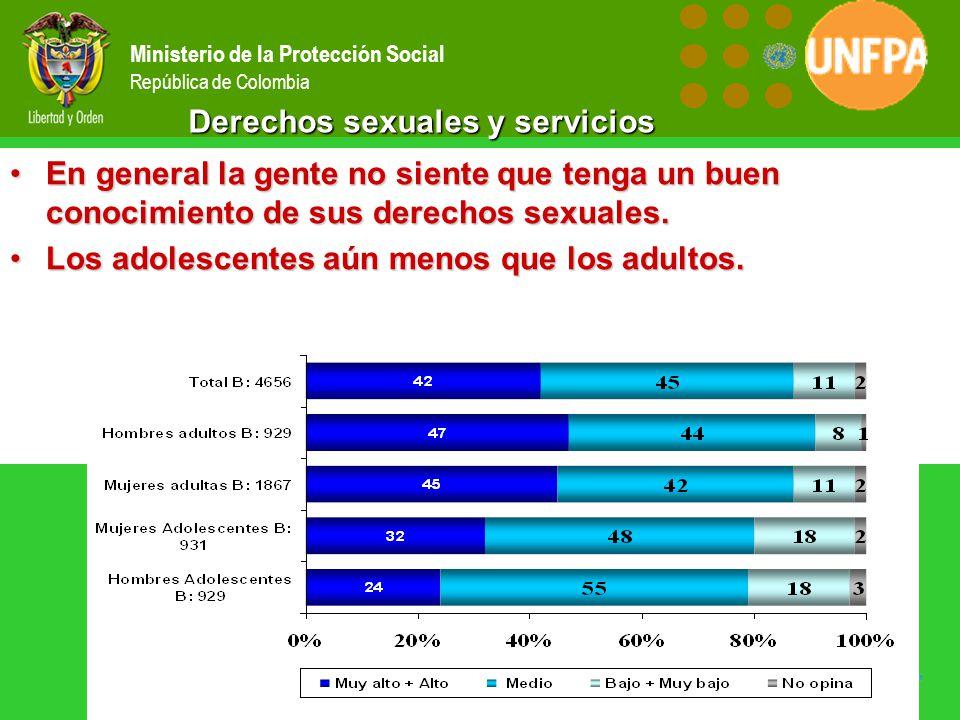 Ministerio de la Protección Social República de Colombia Derechos sexuales y servicios En general la gente no siente que tenga un buen conocimiento de sus derechos sexuales.En general la gente no siente que tenga un buen conocimiento de sus derechos sexuales.