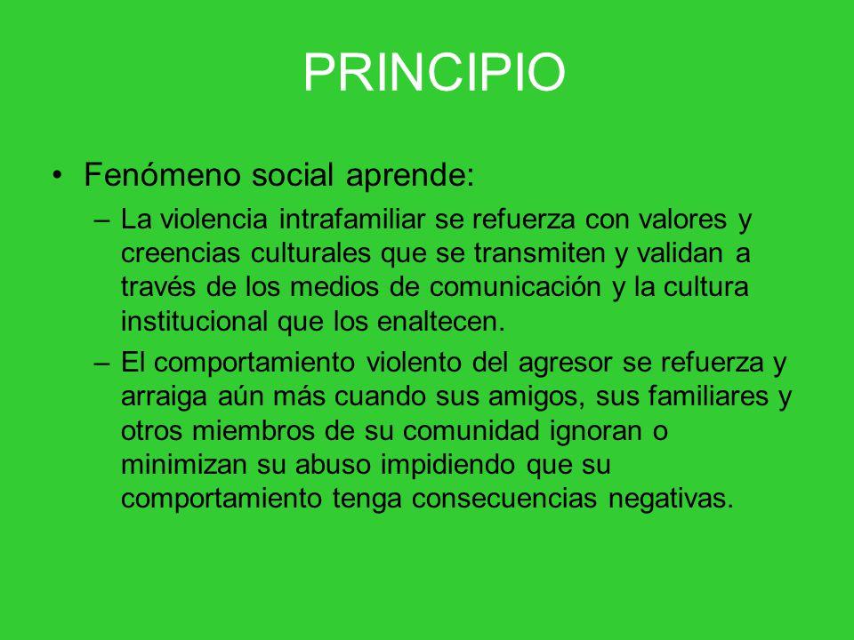 Fenómeno social aprende: –La violencia intrafamiliar se refuerza con valores y creencias culturales que se transmiten y validan a través de los medios de comunicación y la cultura institucional que los enaltecen.