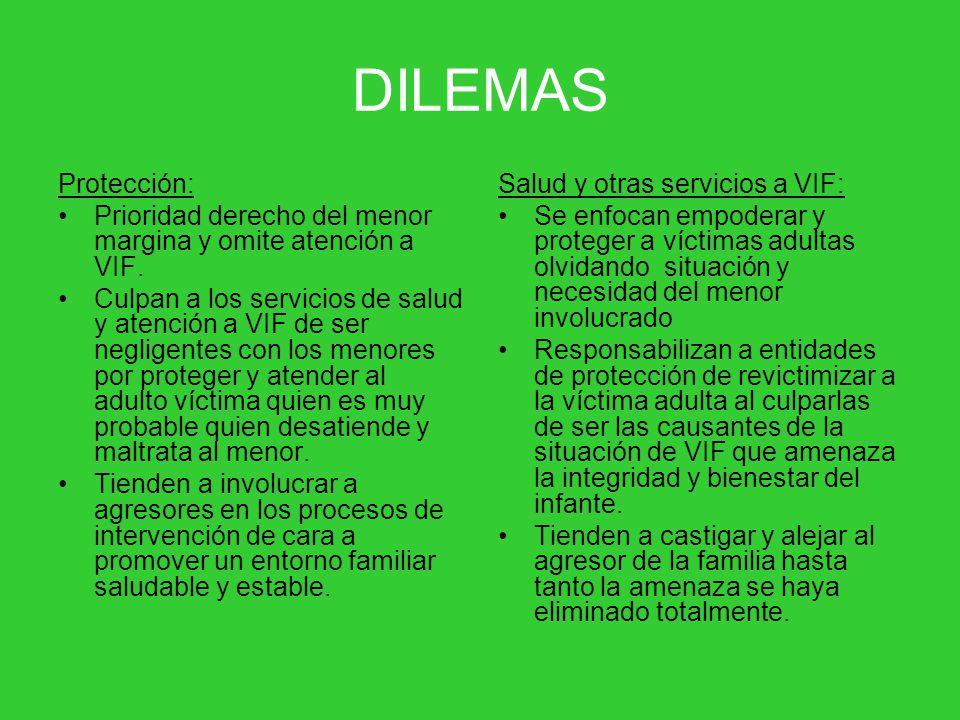 DILEMAS Protección: Prioridad derecho del menor margina y omite atención a VIF.