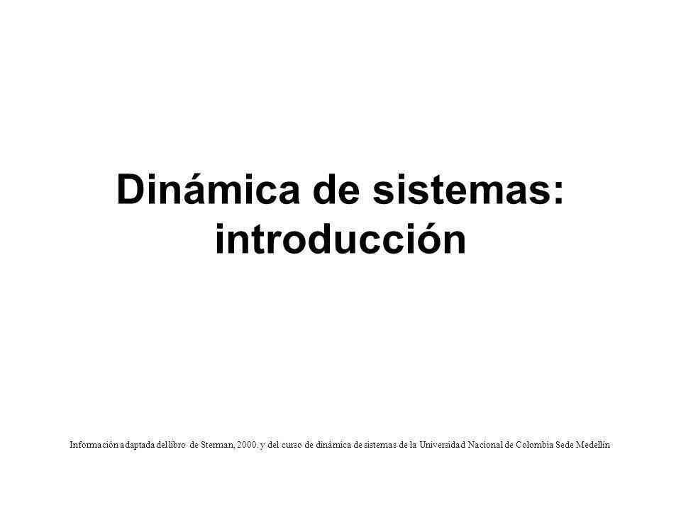 Dinámica de sistemas: introducción Información adaptada del libro de Sterman, 2000. y del curso de dinámica de sistemas de la Universidad Nacional de
