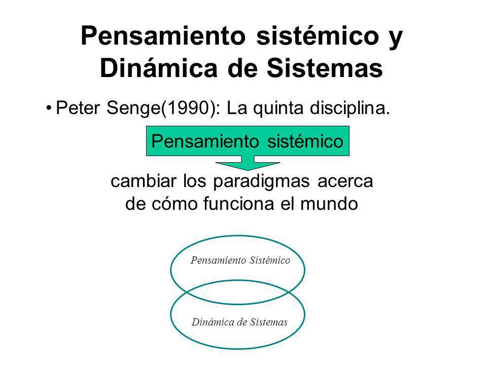 Pensamiento sistémico y Dinámica de Sistemas Peter Senge(1990): La quinta disciplina. Pensamiento Sistémico Dinámica de Sistemas Pensamiento sistémico