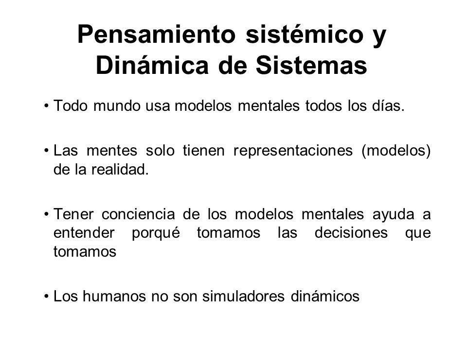 Pensamiento sistémico y Dinámica de Sistemas Todo mundo usa modelos mentales todos los días. Las mentes solo tienen representaciones (modelos) de la r