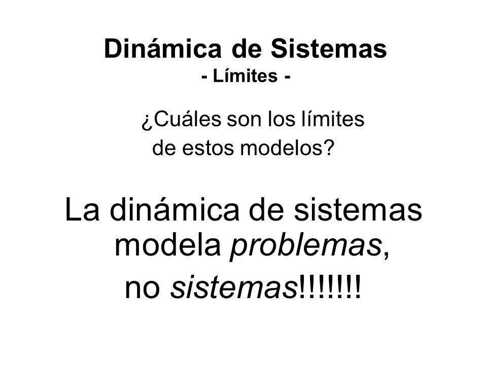 ¿Cuáles son los límites de estos modelos? La dinámica de sistemas modela problemas, no sistemas!!!!!!! Dinámica de Sistemas - Límites -