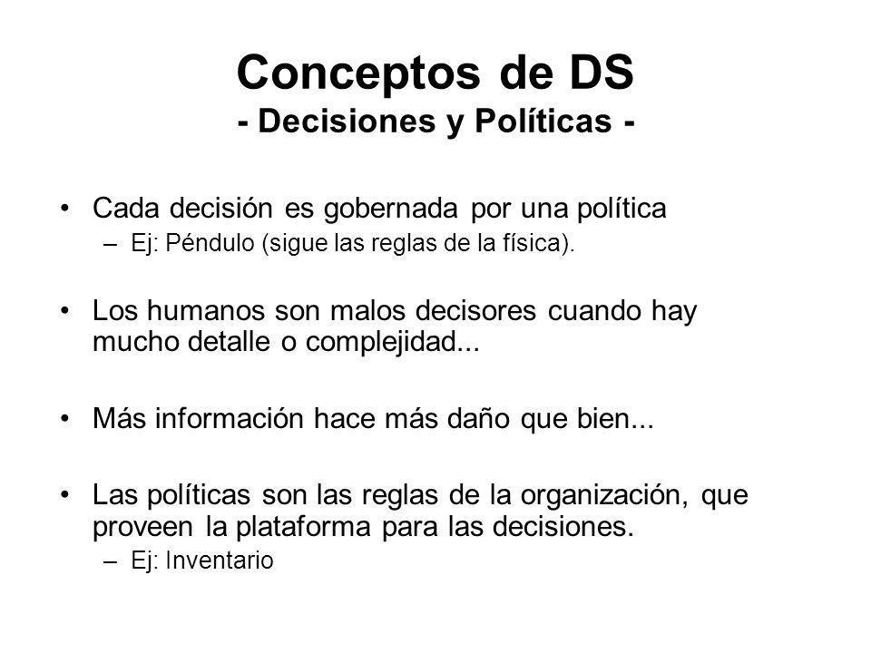 Conceptos de DS - Decisiones y Políticas - Cada decisión es gobernada por una política –Ej: Péndulo (sigue las reglas de la física). Los humanos son m