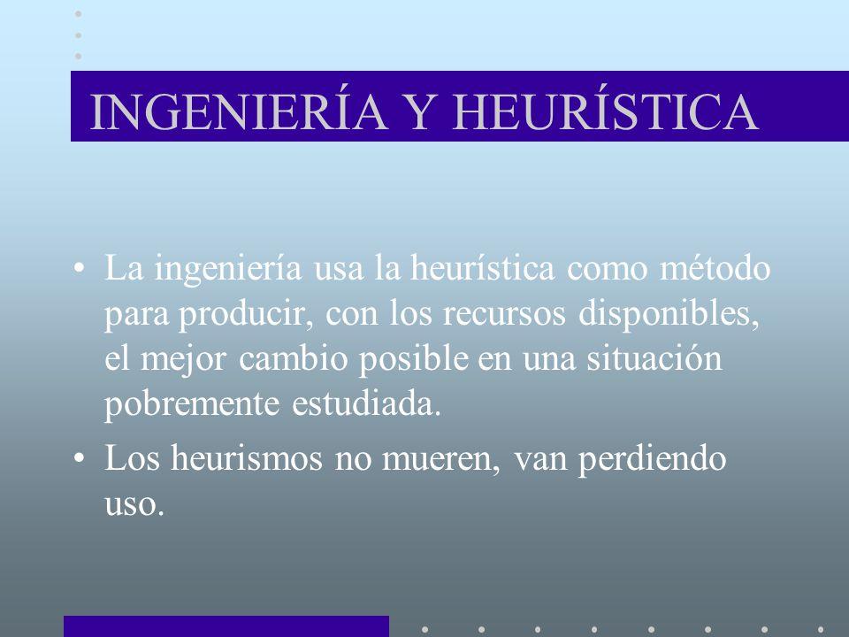 INGENIERÍA Y HEURÍSTICA La ingeniería usa la heurística como método para producir, con los recursos disponibles, el mejor cambio posible en una situación pobremente estudiada.