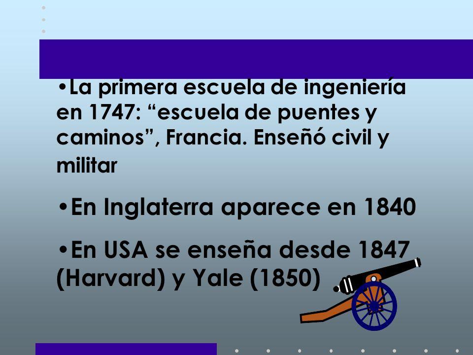 La primera escuela de ingeniería en 1747: escuela de puentes y caminos, Francia.