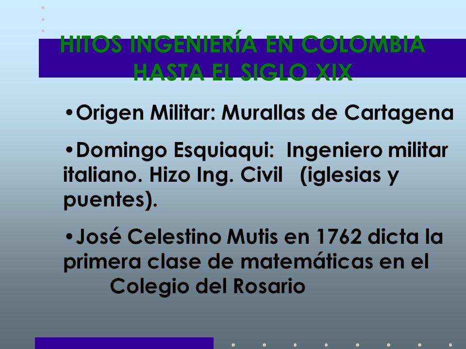 HITOS INGENIERÍA EN COLOMBIA HASTA EL SIGLO XIX Origen Militar: Murallas de Cartagena Domingo Esquiaqui: Ingeniero militar italiano.