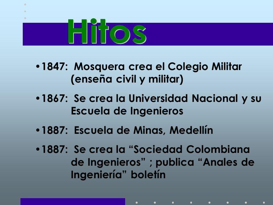 1847: Mosquera crea el Colegio Militar (enseña civil y militar) 1867: Se crea la Universidad Nacional y su Escuela de Ingenieros 1887: Escuela de Minas, Medellín 1887: Se crea la Sociedad Colombiana de Ingenieros ; publica Anales de Ingeniería boletín