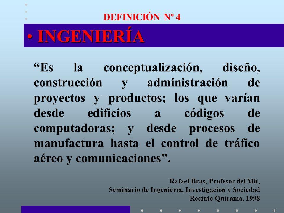 DEFINICIÓN Nº 4 INGENIERÍAINGENIERÍA Es la conceptualización, diseño, construcción y administración de proyectos y productos; los que varían desde edificios a códigos de computadoras; y desde procesos de manufactura hasta el control de tráfico aéreo y comunicaciones.
