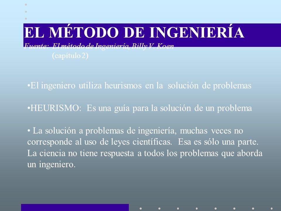 EL MÉTODO DE INGENIERÍA Fuente: El método de Ingeniería, Billy V.