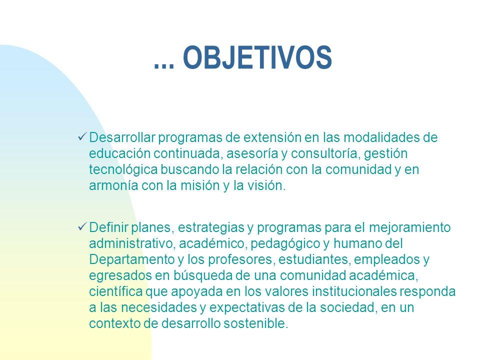 ... OBJETIVOS Desarrollar programas de extensión en las modalidades de educación continuada, asesoría y consultoría, gestión tecnológica buscando la r