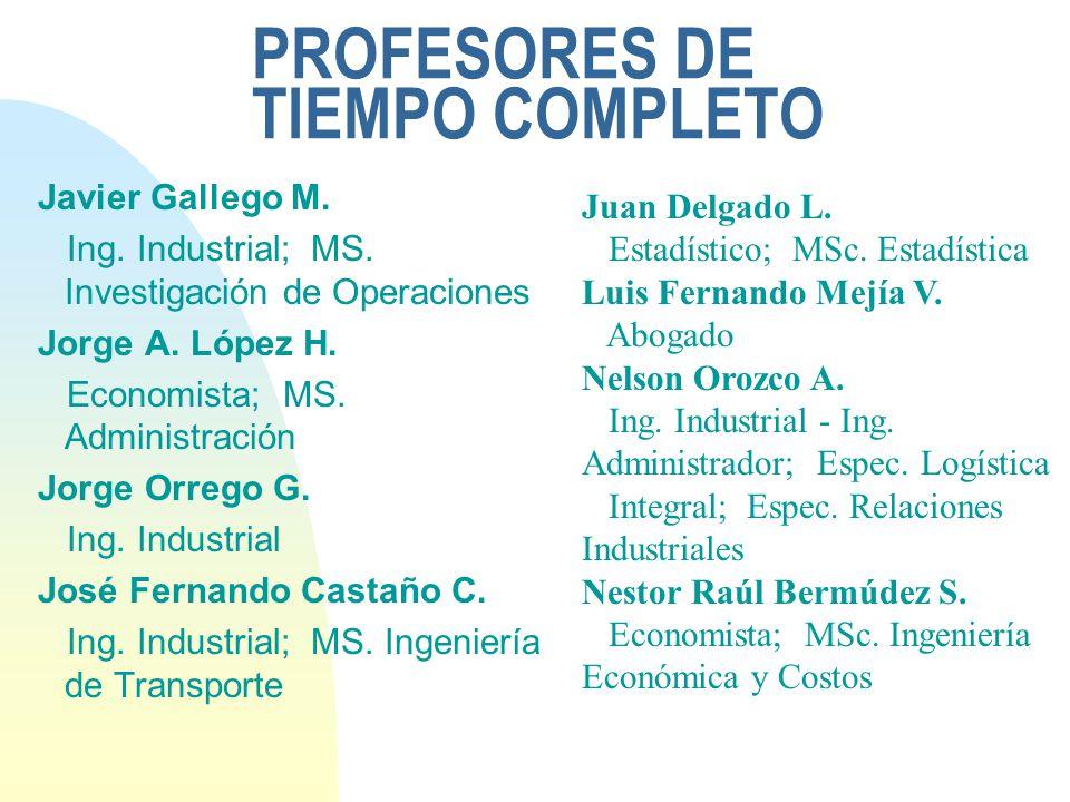 PROFESORES DE TIEMPO COMPLETO Javier Gallego M. Ing. Industrial; MS. Investigación de Operaciones Jorge A. López H. Economista; MS. Administración Jor