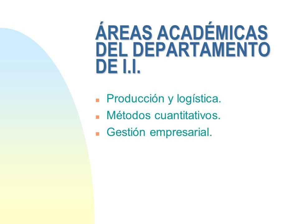 ÁREAS ACADÉMICAS DEL DEPARTAMENTO DE I.I. n Producción y logística. n Métodos cuantitativos. n Gestión empresarial.