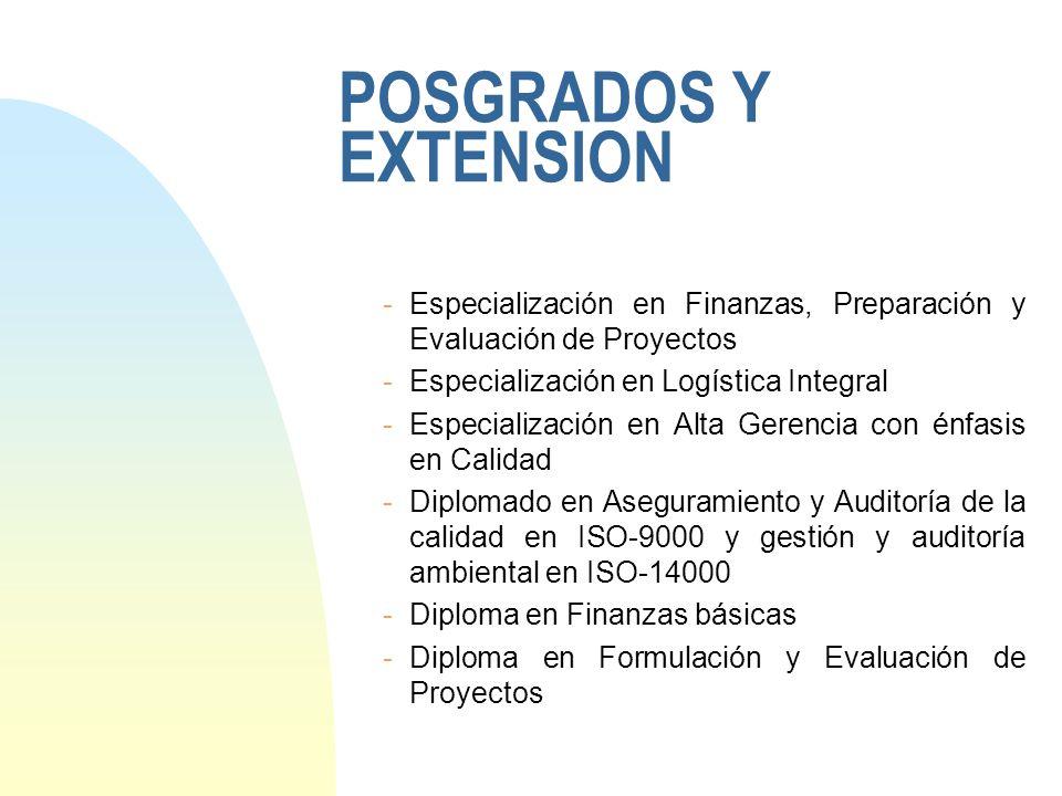 POSGRADOS Y EXTENSION -Especialización en Finanzas, Preparación y Evaluación de Proyectos -Especialización en Logística Integral -Especialización en A