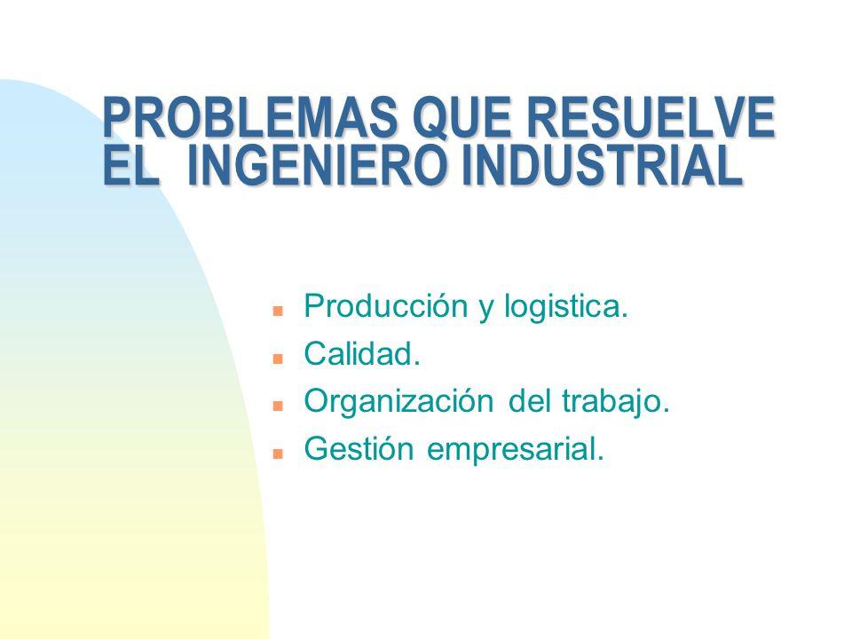 PROBLEMAS QUE RESUELVE EL INGENIERO INDUSTRIAL n Producción y logistica. n Calidad. n Organización del trabajo. n Gestión empresarial.