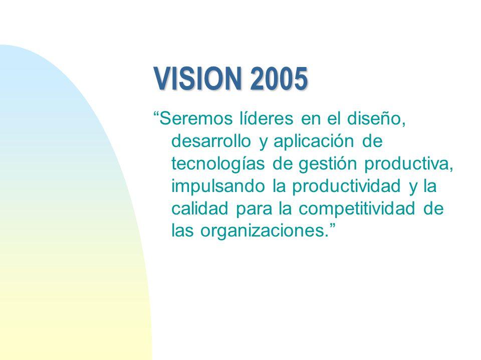 VISION 2005 Seremos líderes en el diseño, desarrollo y aplicación de tecnologías de gestión productiva, impulsando la productividad y la calidad para