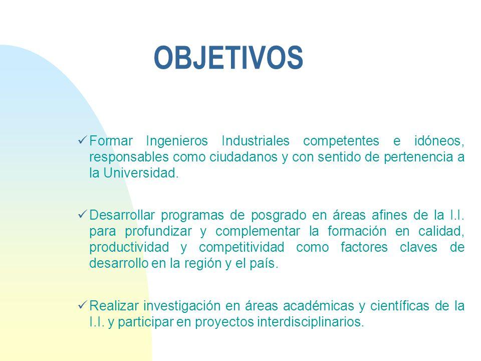 OBJETIVOS Formar Ingenieros Industriales competentes e idóneos, responsables como ciudadanos y con sentido de pertenencia a la Universidad. Desarrolla