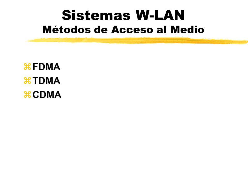 Sistemas W-LAN Métodos de Acceso al Medio zFDMA zTDMA zCDMA