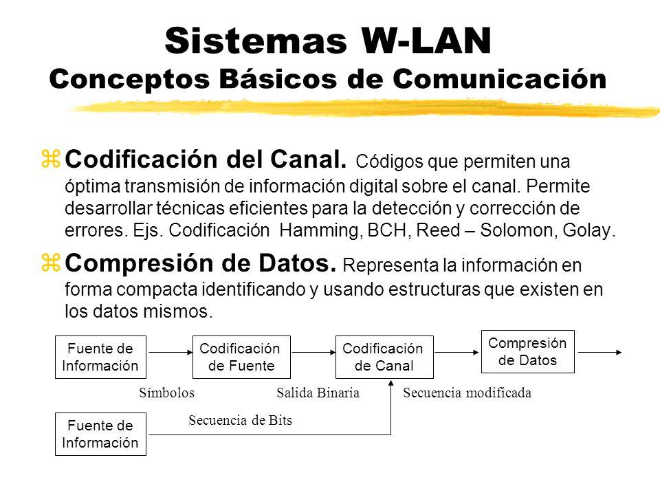 Sistemas W-LAN Conceptos Básicos de Comunicación zCodificación del Canal. Códigos que permiten una óptima transmisión de información digital sobre el