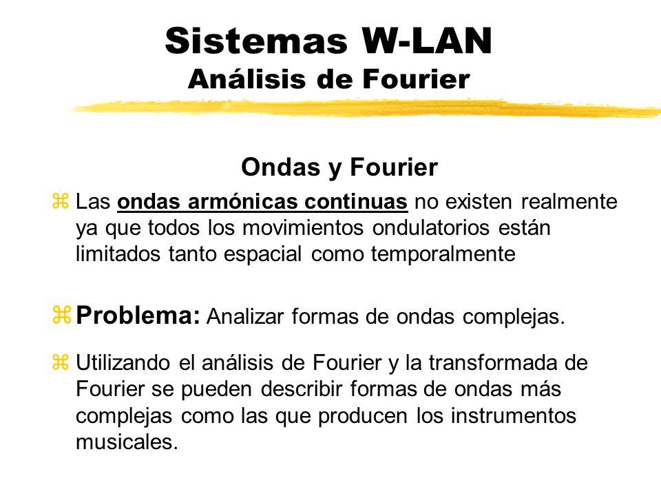 Sistemas W-LAN Análisis de Fourier Ondas y Fourier zLas ondas armónicas continuas no existen realmente ya que todos los movimientos ondulatorios están