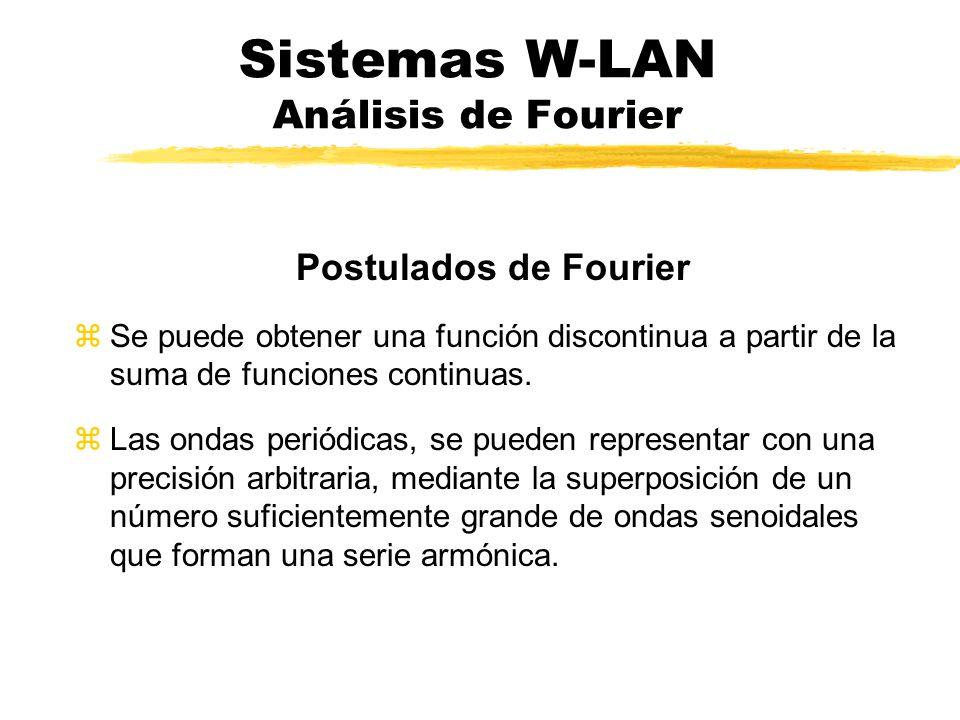 Sistemas W-LAN Análisis de Fourier zToda función f(t) periódica de periodo P, se puede representar en forma de una suma infinita de funciones armónicas, es decir, donde el periodo P=2pi/w, y a0 a1...ai...