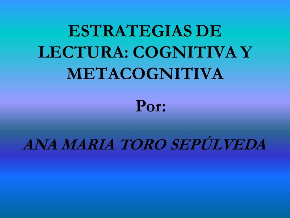 ESTRATEGIAS DE LECTURA: COGNITIVA Y METACOGNITIVA Por: ANA MARIA TORO SEPÚLVEDA
