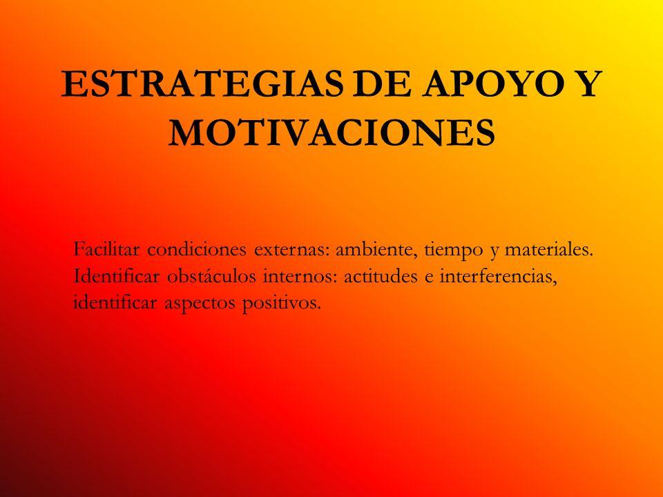 ESTRATEGIAS DE APOYO Y MOTIVACIONES Facilitar condiciones externas: ambiente, tiempo y materiales.