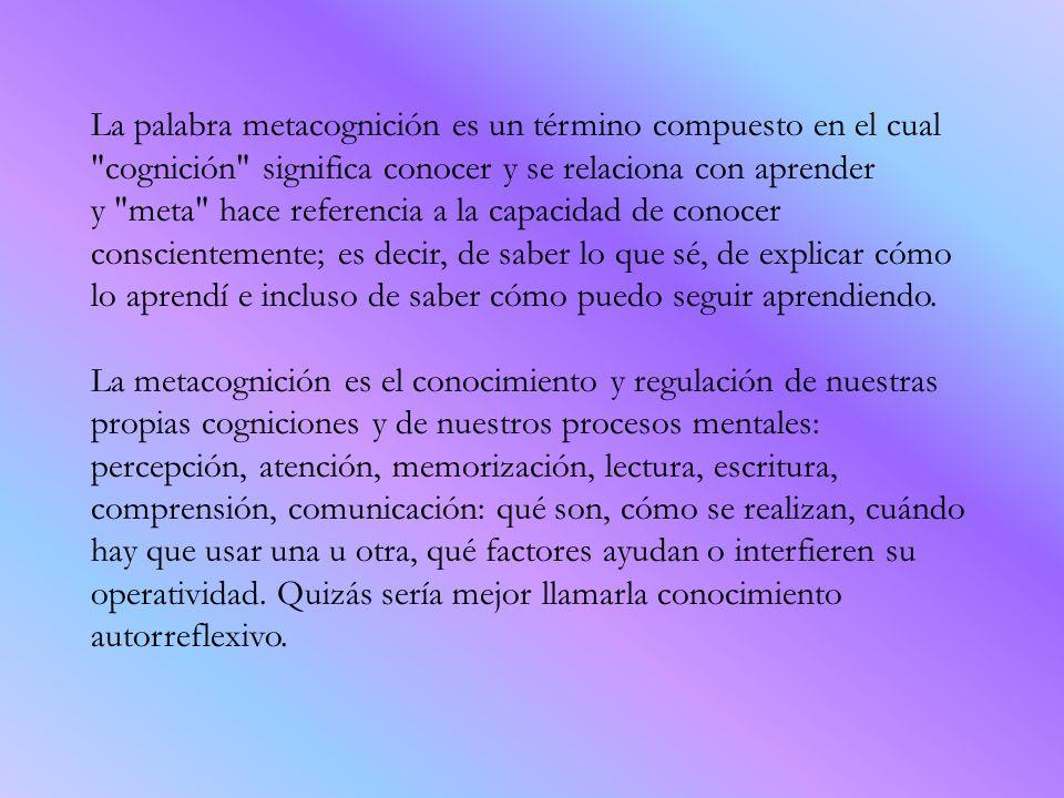 La palabra metacognición es un término compuesto en el cual