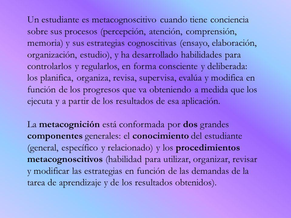 Un estudiante es metacognoscitivo cuando tiene conciencia sobre sus procesos (percepción, atención, comprensión, memoria) y sus estrategias cognosciti