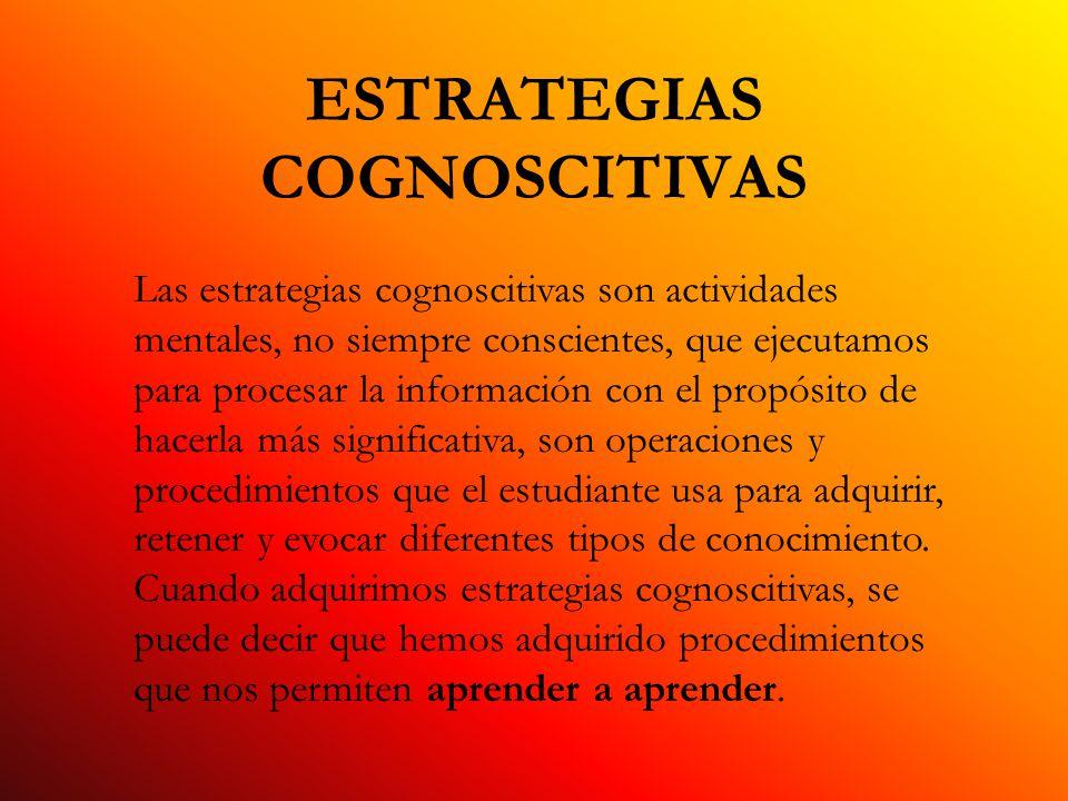 ESTRATEGIAS COGNOSCITIVAS Las estrategias cognoscitivas son actividades mentales, no siempre conscientes, que ejecutamos para procesar la información