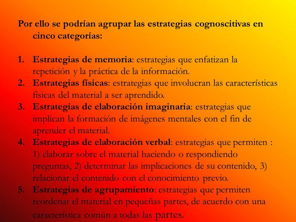 Por ello se podrían agrupar las estrategias cognoscitivas en cinco categorías: 1.Estrategias de memoria: estrategias que enfatizan la repetición y la práctica de la información.
