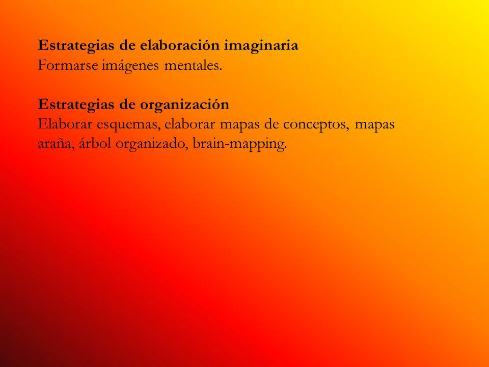 Estrategias de elaboración imaginaria Formarse imágenes mentales. Estrategias de organización Elaborar esquemas, elaborar mapas de conceptos, mapas ar