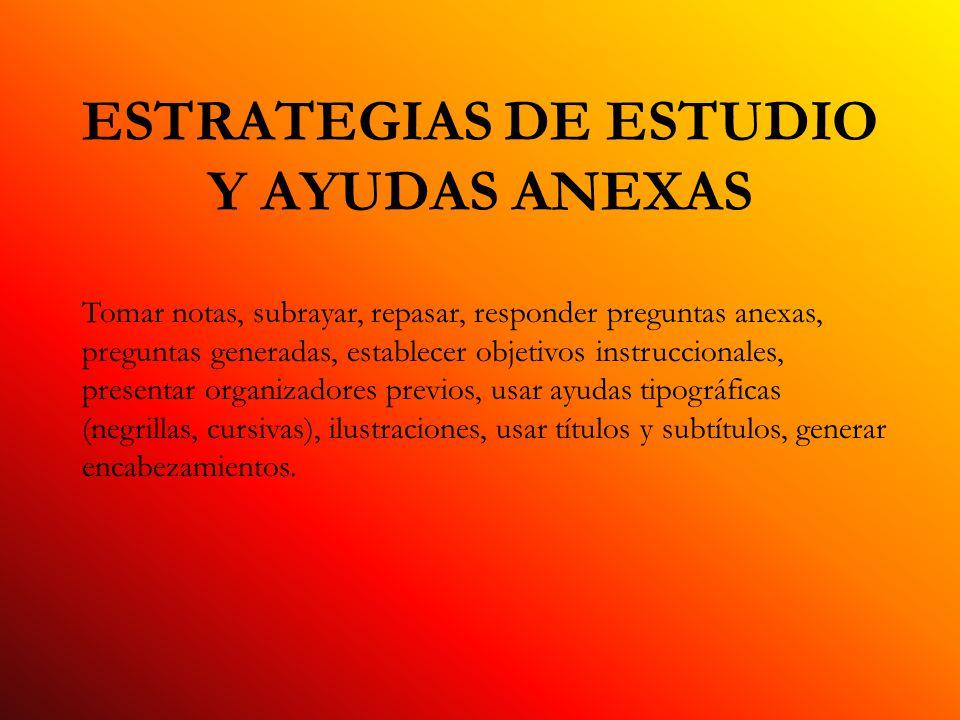ESTRATEGIAS METACOGNOSCITIVAS Estrategias cognoscitivas para aprender, retener y evocar, autorreguladas y utilizadas de manera consciente.