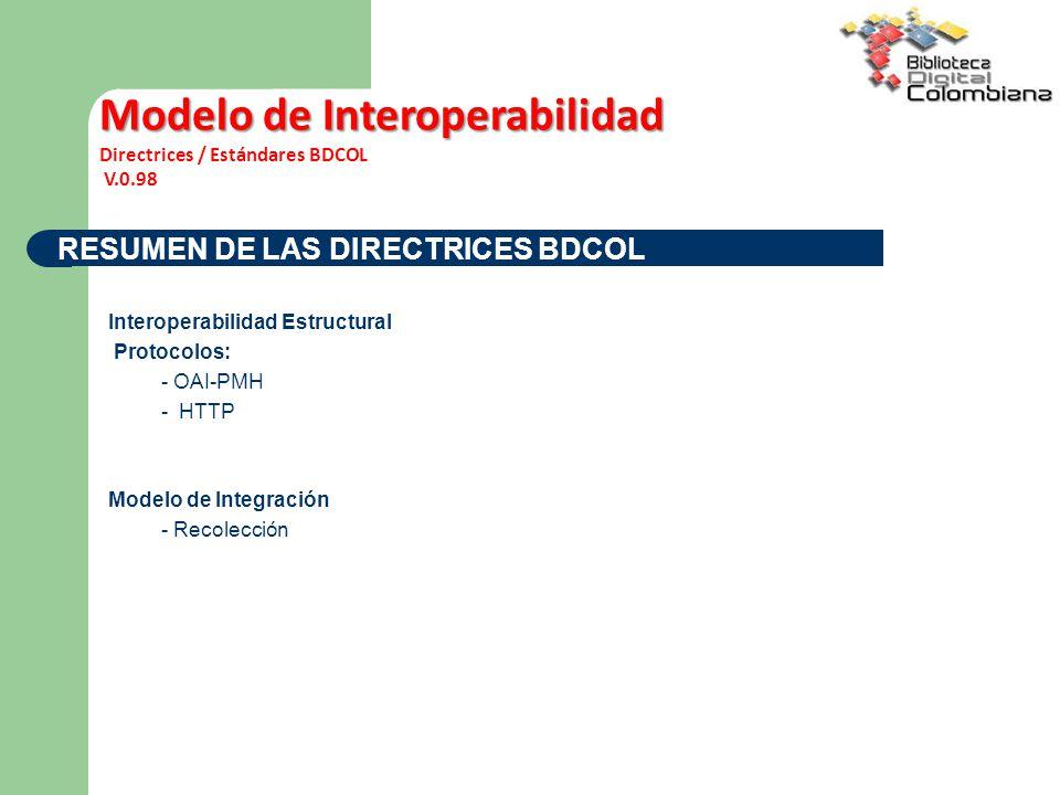 RESUMEN DE LAS DIRECTRICES BDCOL Interoperabilidad Estructural Protocolos: - OAI-PMH - HTTP Modelo de Integración - Recolección Modelo de Interoperabilidad Directrices / Estándares BDCOL V.0.98