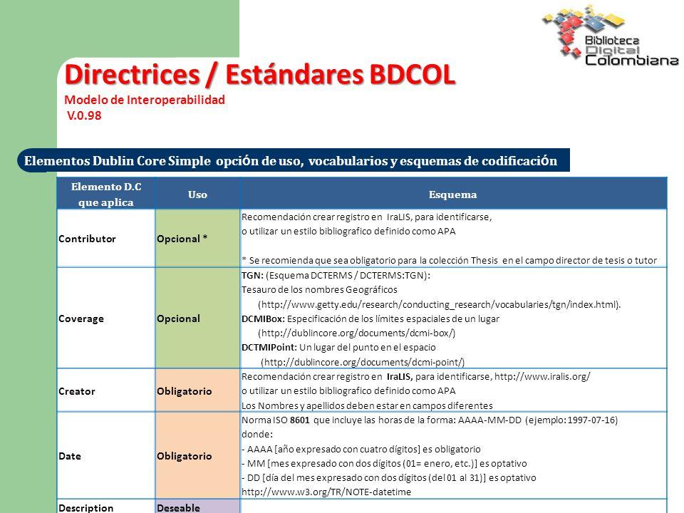 Directrices / Estándares BDCOL Modelo de Interoperabilidad V.0.98 Elementos Dublin Core Simple opci ó n de uso, vocabularios y esquemas de codificaci ó n Elemento D.C que aplica UsoEsquema ContributorOpcional * Recomendación crear registro en IraLIS, para identificarse, o utilizar un estilo bibliografico definido como APA * Se recomienda que sea obligatorio para la colección Thesis en el campo director de tesis o tutor CoverageOpcional TGN: (Esquema DCTERMS / DCTERMS:TGN): Tesauro de los nombres Geográficos (http://www.getty.edu/research/conducting_research/vocabularies/tgn/index.html).