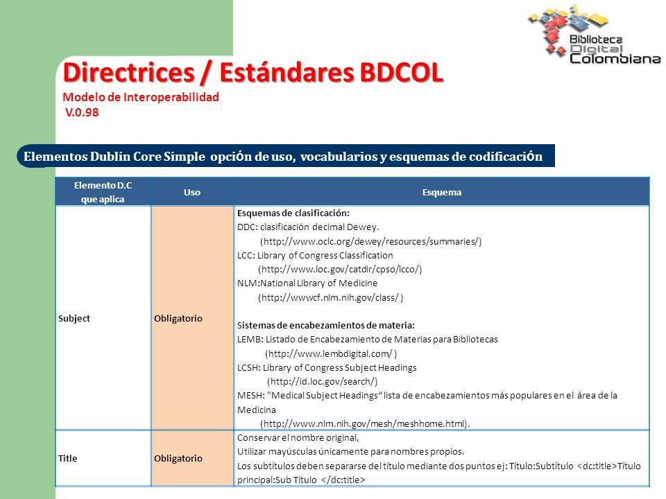 Directrices / Estándares BDCOL Modelo de Interoperabilidad V.0.98 Elementos Dublin Core Simple opci ó n de uso, vocabularios y esquemas de codificaci ó n Elemento D.C que aplica UsoEsquema SubjectObligatorio Esquemas de clasificación: DDC: clasificación decimal Dewey.