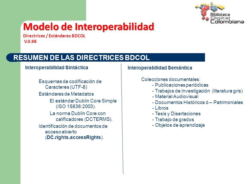 RESUMEN DE LAS DIRECTRICES BDCOL Interoperabilidad Sintáctica Esquemas de codificación de Caracteres (UTF-8) Estándares de Metadatos El estándar Dublin Core Simple (ISO 15836:2003).